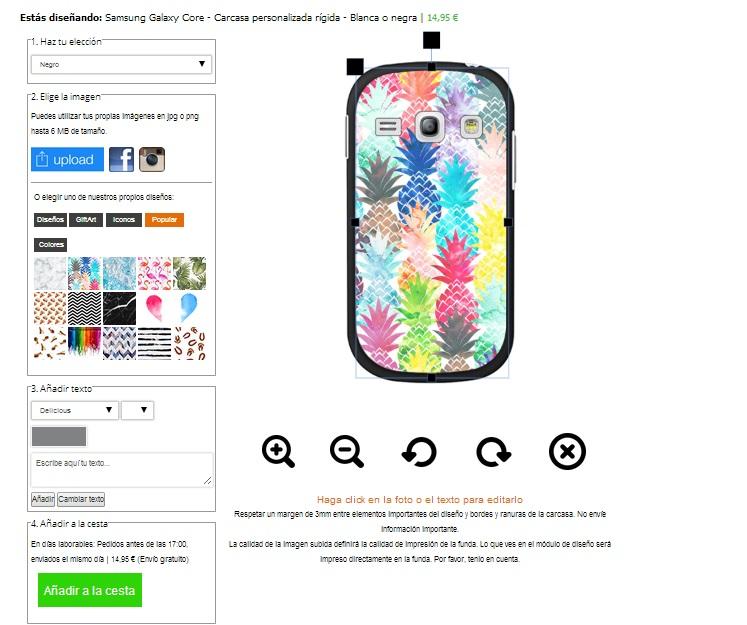 Samsung Galaxy Core Hardcase hoesje ontwerpen zwart Wit of Transparant