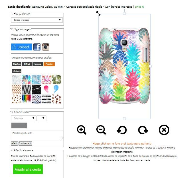 Samsung Galaxy S3 mini telefoon hoesje ontwerpen rondom bedrukt