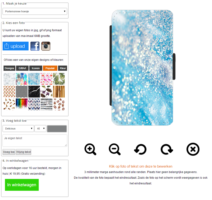 Samsung Galaxy S6 Edge Plus portemonnee hoesje ontwerpen