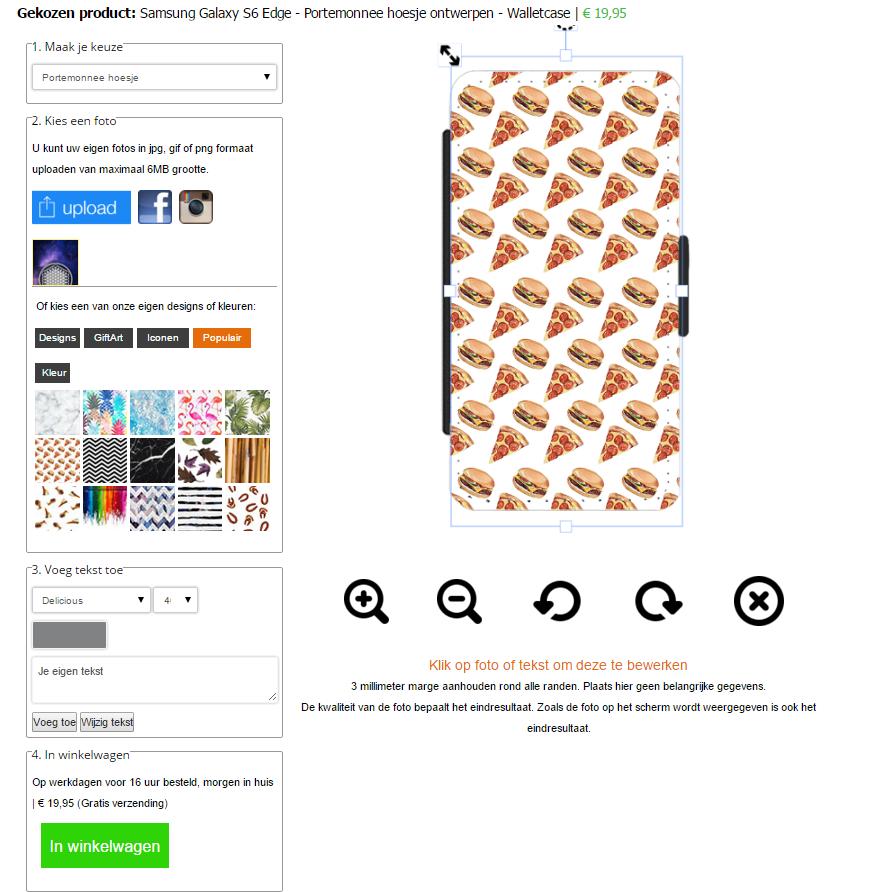 Samsung Galaxy S6 Edge portemonnee hoesje ontwerpen