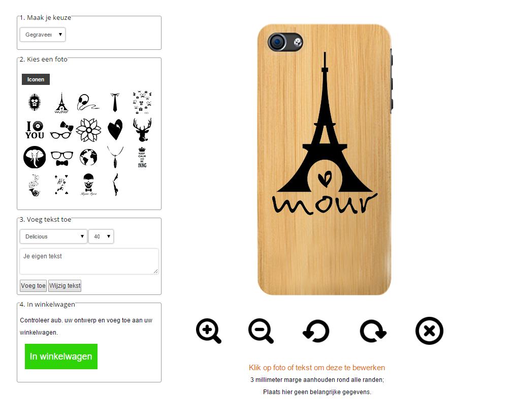 iPhone 6S wooden case ontwerpen met eigen design