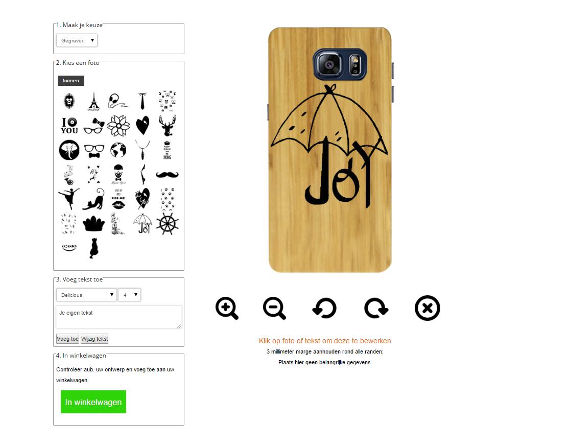 S6 wooden case ontwerpen met eigen design