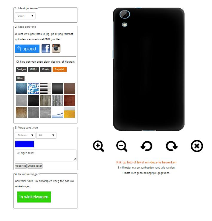 HTC Desire 820 hardcase hoesje maken zwart