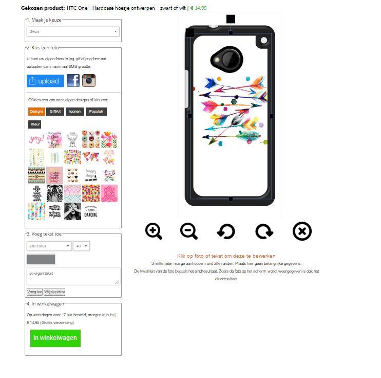 HTC One Hardcase hoesje ontwerpen