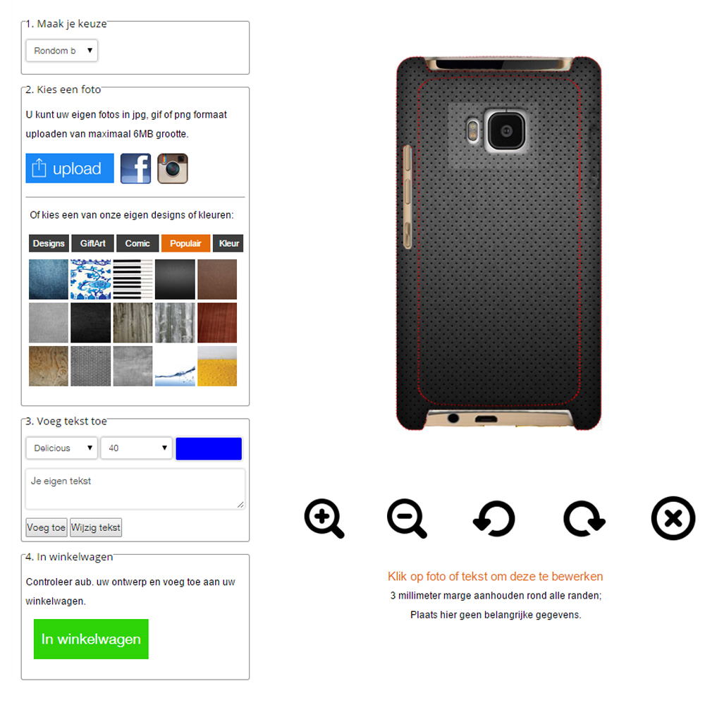 HTC One M9 Hardcase hoesje ontwerpen rondom bedrukt