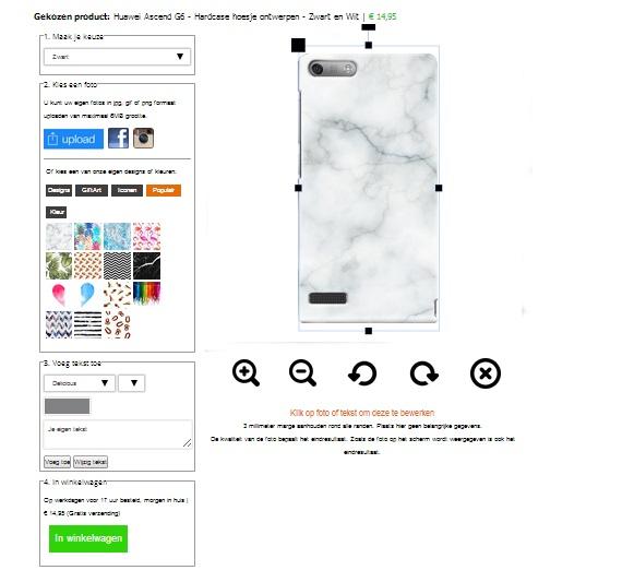 Huawei Ascend G6 Hardcase hoesje met foto Zwart en Wit